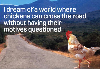 Finalmente respondida a maior questão da humanidade! Chicken-Crossing-Road-Dream-poster